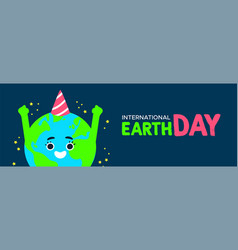 earth day banner of planet with birthday hat vector image