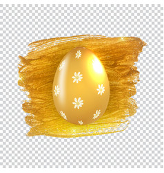 easter egg with paint splash and golden frame vector image