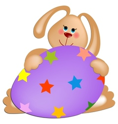 Easter rabbit with painted egg vector image
