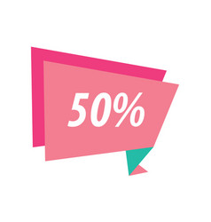 Fifty percent label origami pink and green vector