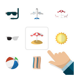 flat icon summer set of wiper recliner aircraft vector image