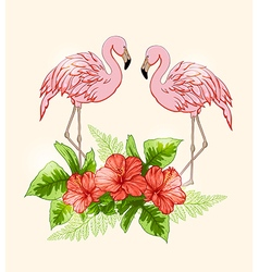 Flowers and pink flamingo vector