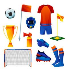 football equipment set training tools flat icons vector image