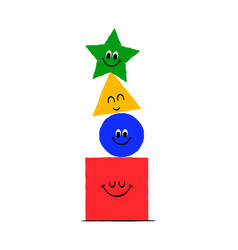 funny geometric shape cartoon character isolated vector image