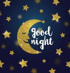 Good night wishes with glitter gold moon and stars vector