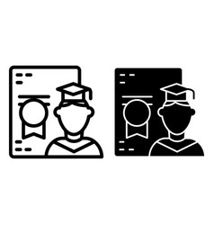 Graduate student and diploma line and glyph icon vector