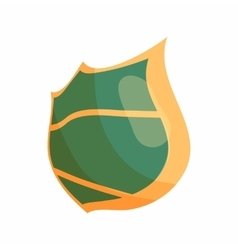 Green steel shield icon cartoon style vector image