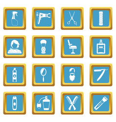 hairdressing icons azure vector image