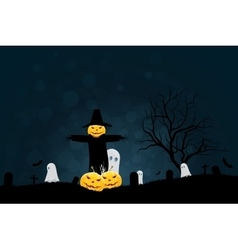 Halloween Party Background with Scarecrow Ghosts vector