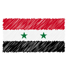 hand drawn national flag of syria isolated on a vector image