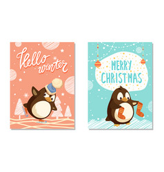 hello winter and merry xmas card penguins vector image