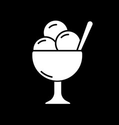 ice cream in bowl dark mode glyph icon vector image