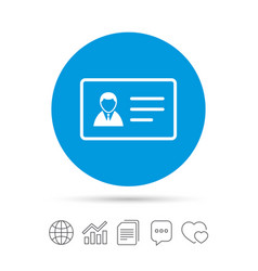 id card sign icon identity card badge symbol vector image