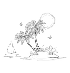 Island with palm and ship contours vector