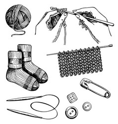 knitting and crochet set ink hand drawn vector image
