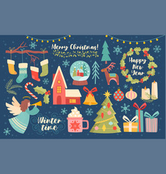 Large collection christmas design elements vector