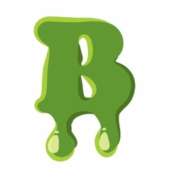 Letter B made of green slime vector image
