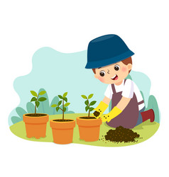 Little boy doing gardening vector