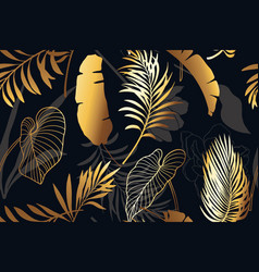luxury black and gold seamless pattern with golden vector image