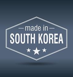 Made in South Korea hexagonal white vintage label vector