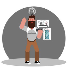 man architect generate an idea vector image
