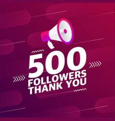 Megaphone with 500 followers banner vector
