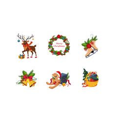 merry christmas cute bright holiday decoration vector image