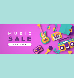 music business sale template with papercut icons vector image