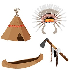 Native american set vector