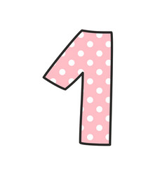 Number 1 with white polka dots on pastel pink vector