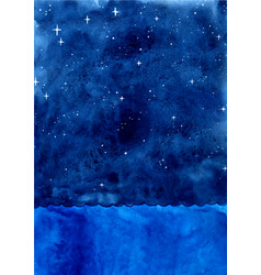 Ocean wave and night sky among star watercolor vector