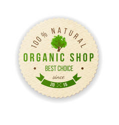organic shop paper label vector image