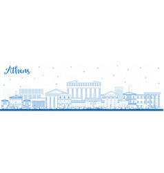 Outline athens greece city skyline with blue vector