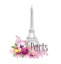 paris floral sign french landmark eiffel tower vector image vector image