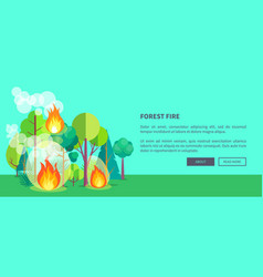 Poster depicting raging forest fire vector