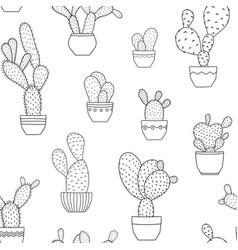 Pottet cactus plants seamless pattern black white vector