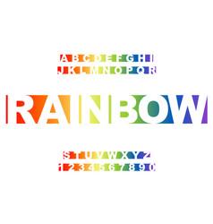 rainbow stylized vintage font vector image