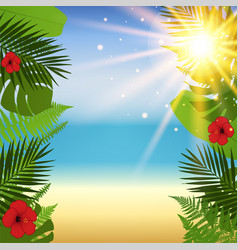 red hibiscus and palm leaves seamless pattern vector image