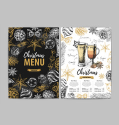 restaurant christmas holiday menu design vector image