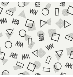 Retro memphis geometric line shapes seamless vector image