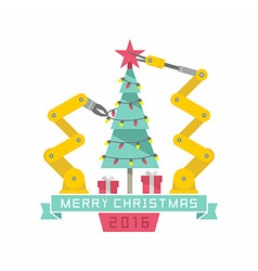 Robot and Christmas tree vector