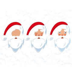 santa claus hat and beard drawing of a head vector image