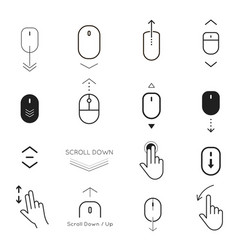 Scroll down and button up icon set vector