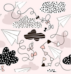 Seamless pattern paper airplanes and clouds in vector