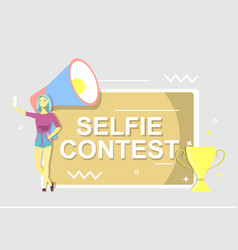 Selfie contest poster flat style design vector