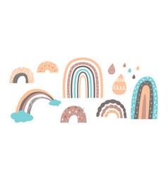 set cute rainbows in scandinavian baby vector image