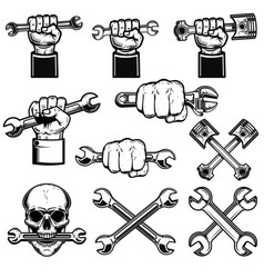 set of hand with working tools wrenches mechanic vector image