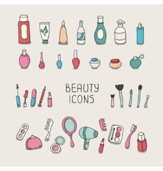 Set of vintage cosmetics elements and beauty vector