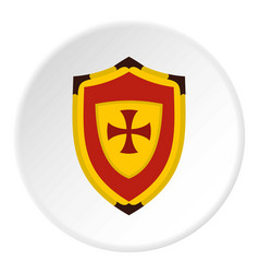 Shield with cross icon circle vector