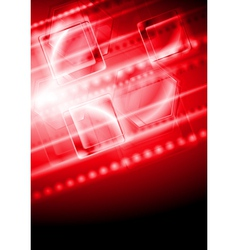 Shiny red tech background vector image